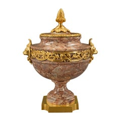 French 19th Century Louis XVI Style Breccia Corallina Marble and Ormolu Urn