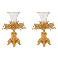 Pair of French 19th Century Ormolu and Etched Baccarat Crystal Vases