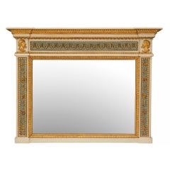 Italian 19th Century Neoclassical Style Giltwood Trumeau Mirror