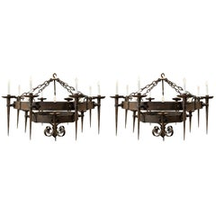 Pair of 19th Century French Wrought Iron Circular Chandeliers