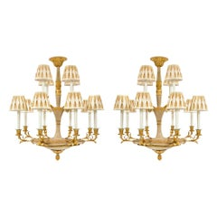 Pair of Italian 19th Century Neoclassical Style Patinated Gilt Metal Chandelier