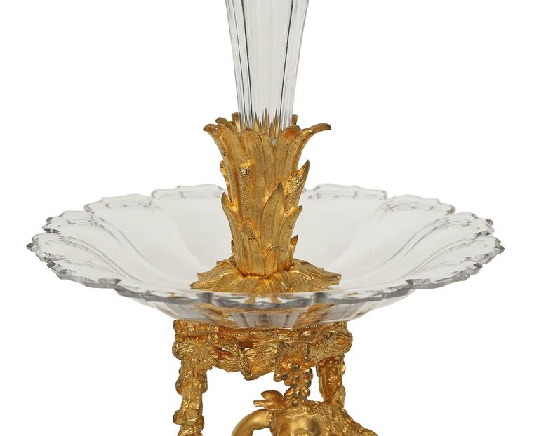 19th Century French 19th century Belle Époque Period Baccarat crystal and ormolu centerpiece For Sale