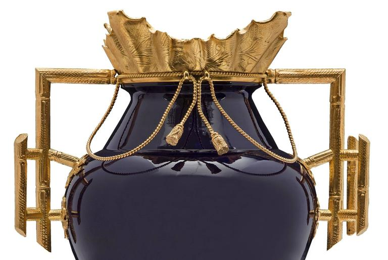 19th Century Louis XVI Style Cobalt Blue Porcelain and Ormolu Signed Vase 1