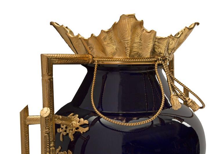 19th Century Louis XVI Style Cobalt Blue Porcelain and Ormolu Signed Vase 2