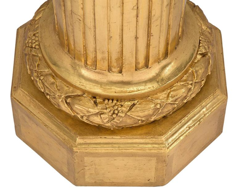 Pair of French 19th Century Louis XVI Style Giltwood Columns For Sale 3