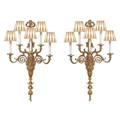 A Monumental Pair Of French Mid 19th Century Louis XVI St. Ormolu Sconces