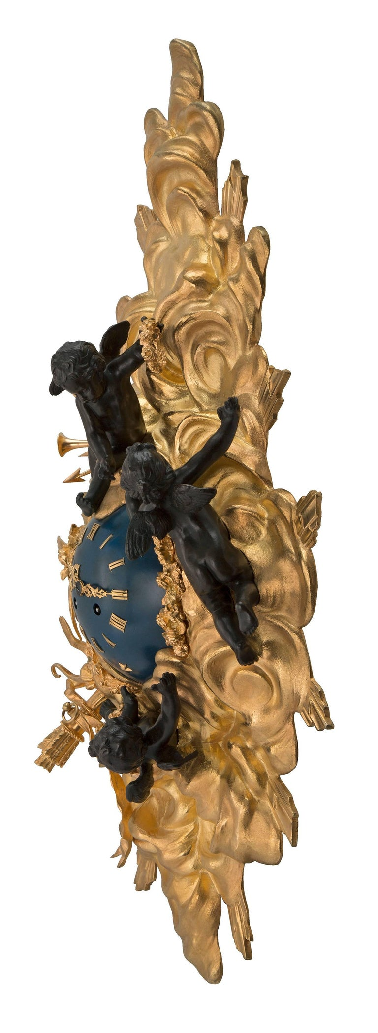 French 19th Century Louis XV St. Ormolu and Patinated Bronze Cartel Clock For Sale 4