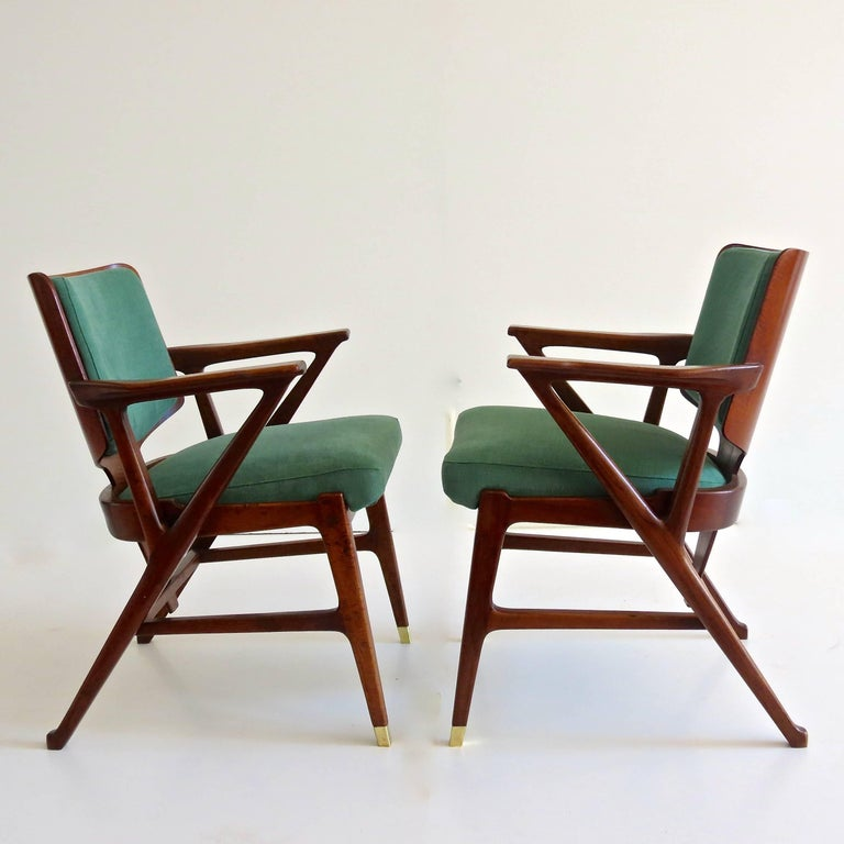 Important set of six cassina dining armchairs designed by for Cassina spa meda