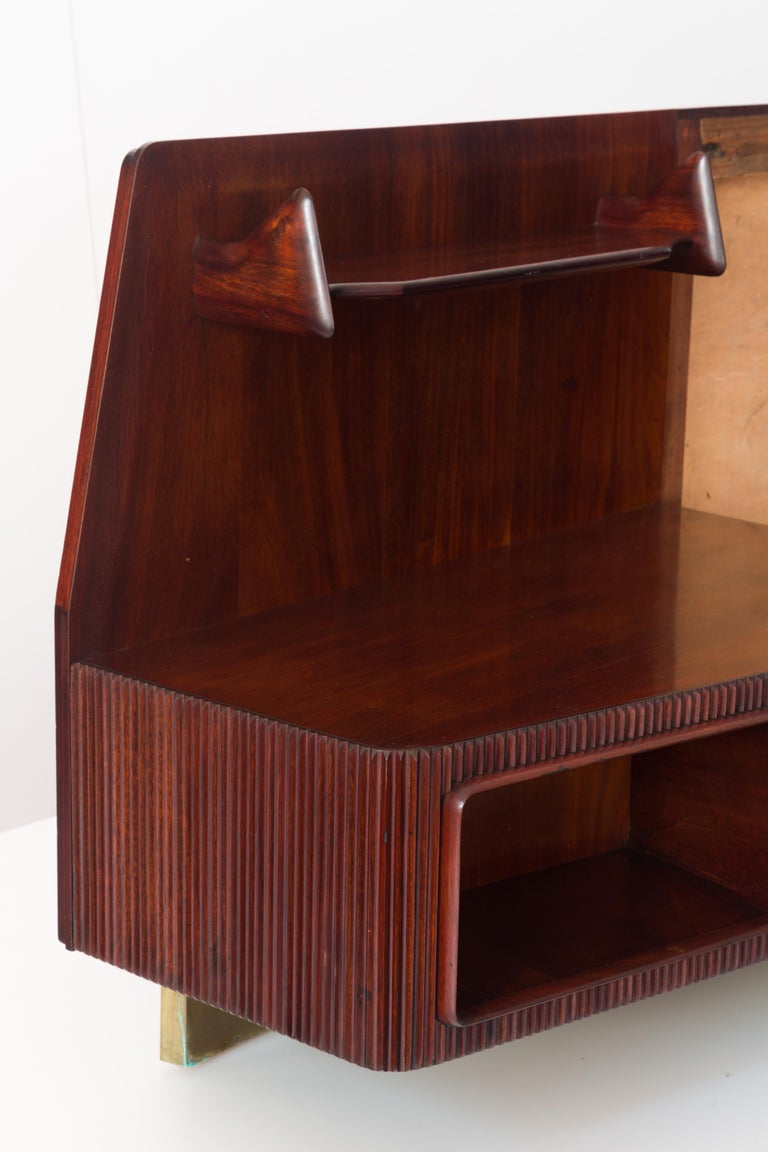 Modern Important Wall Unit, Large Curved Sofa and Mahogany Shelfs by Dassi, 1940 For Sale