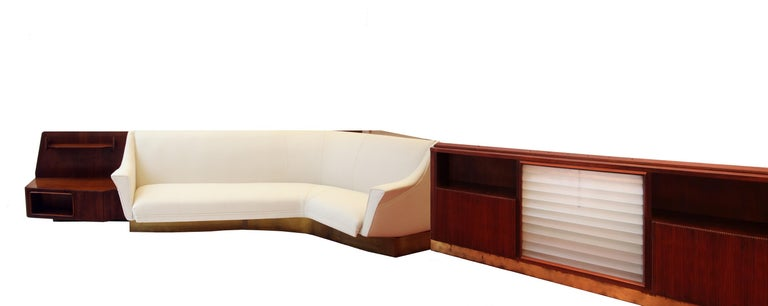 Important Wall Unit, Large Curved Sofa and Mahogany Shelfs by Dassi, 1940 For Sale 10