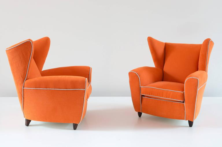 Modern Pair of Large Attributed Melchiorre Bega Wingback Orange Armchairs, 1952 For Sale