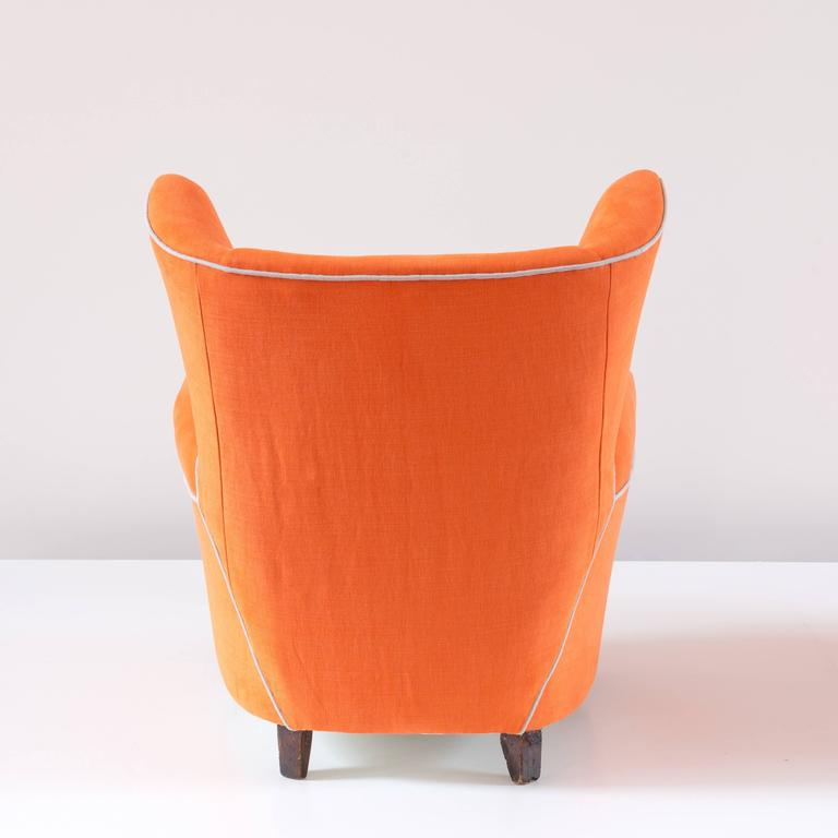 Italian Pair of Large Attributed Melchiorre Bega Wingback Orange Armchairs, 1952 For Sale