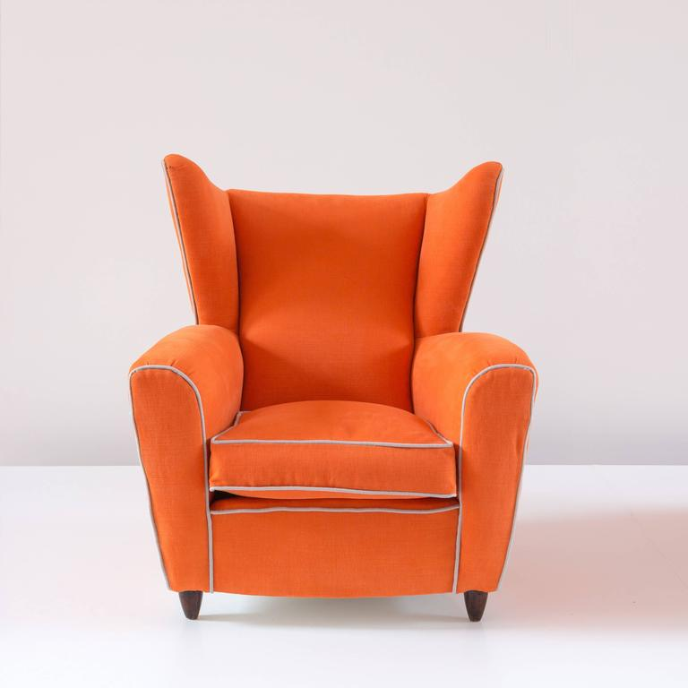 Pair of Large Attributed Melchiorre Bega Wingback Orange Armchairs, 1952 In Good Condition For Sale In Rome, IT