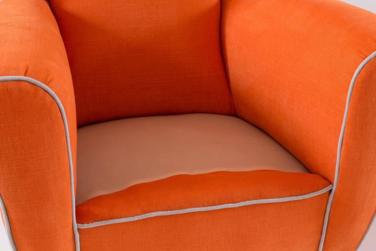 Cotton Pair of Large Attributed Melchiorre Bega Wingback Orange Armchairs, 1952 For Sale