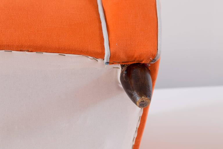Pair of Large Attributed Melchiorre Bega Wingback Orange Armchairs, 1952 For Sale 3