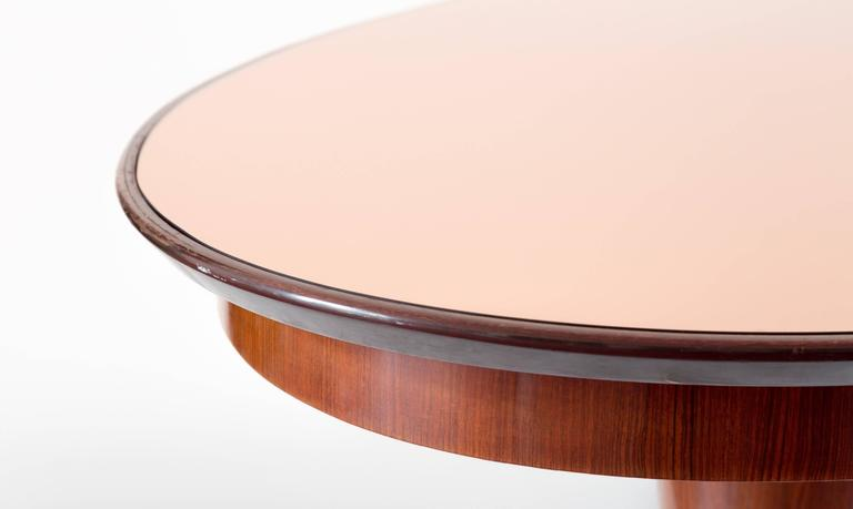 Modern Oval Mahogany Brass Dining Table, Pink Mirror Top, 1952 For Sale