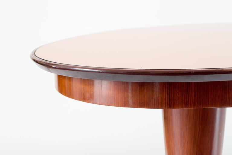 Italian Oval Mahogany Brass Dining Table, Pink Mirror Top, 1952 For Sale