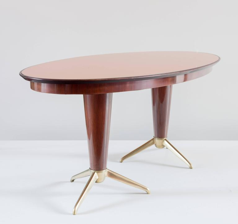 Mid-20th Century Oval Mahogany Brass Dining Table, Pink Mirror Top, 1952 For Sale