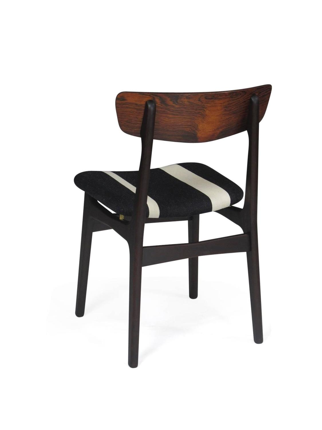 rosewood dining chairs with black white striped