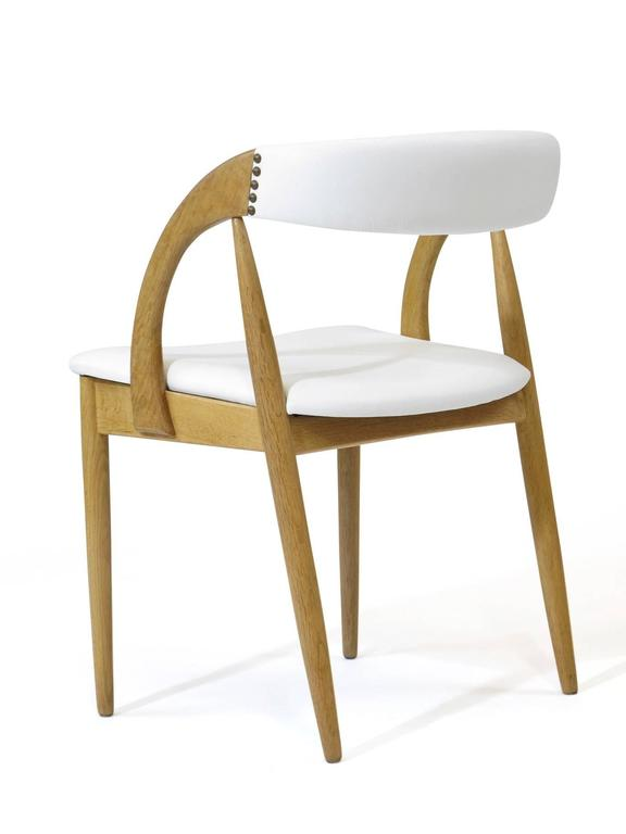 Brass Pair of Danish White Oak Dining Chairs in White Leather For Sale