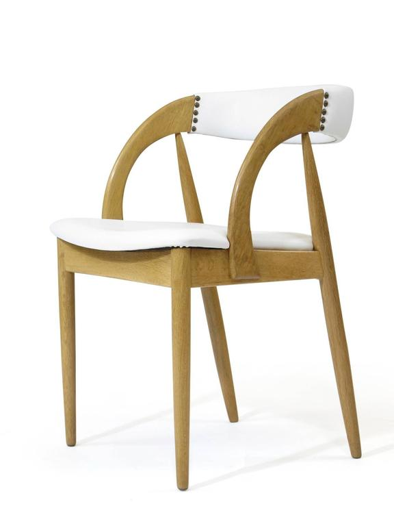 Scandinavian Modern Pair of Danish White Oak Dining Chairs in White Leather For Sale