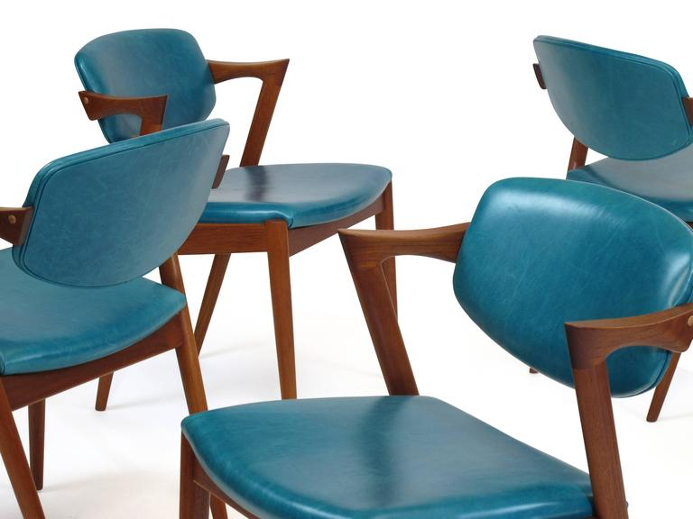 Scandinavian Modern Six Kai Kristiansen Teak Danish Dining Chairs In Turquoise  Leather, 20 Available For
