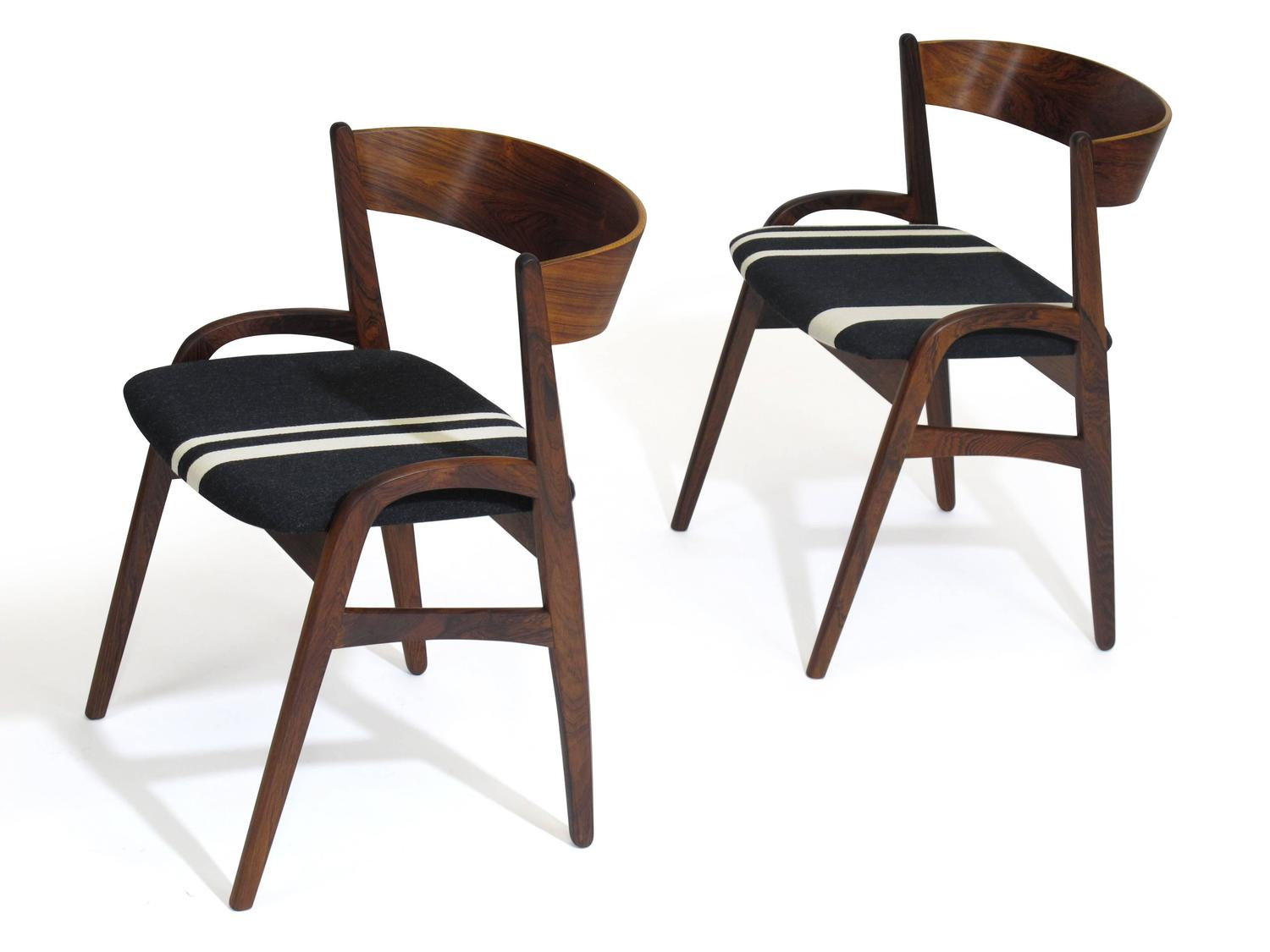 Six Rosewood Danish Dining Chairs In Black White Striped Fabric At 1stdibs