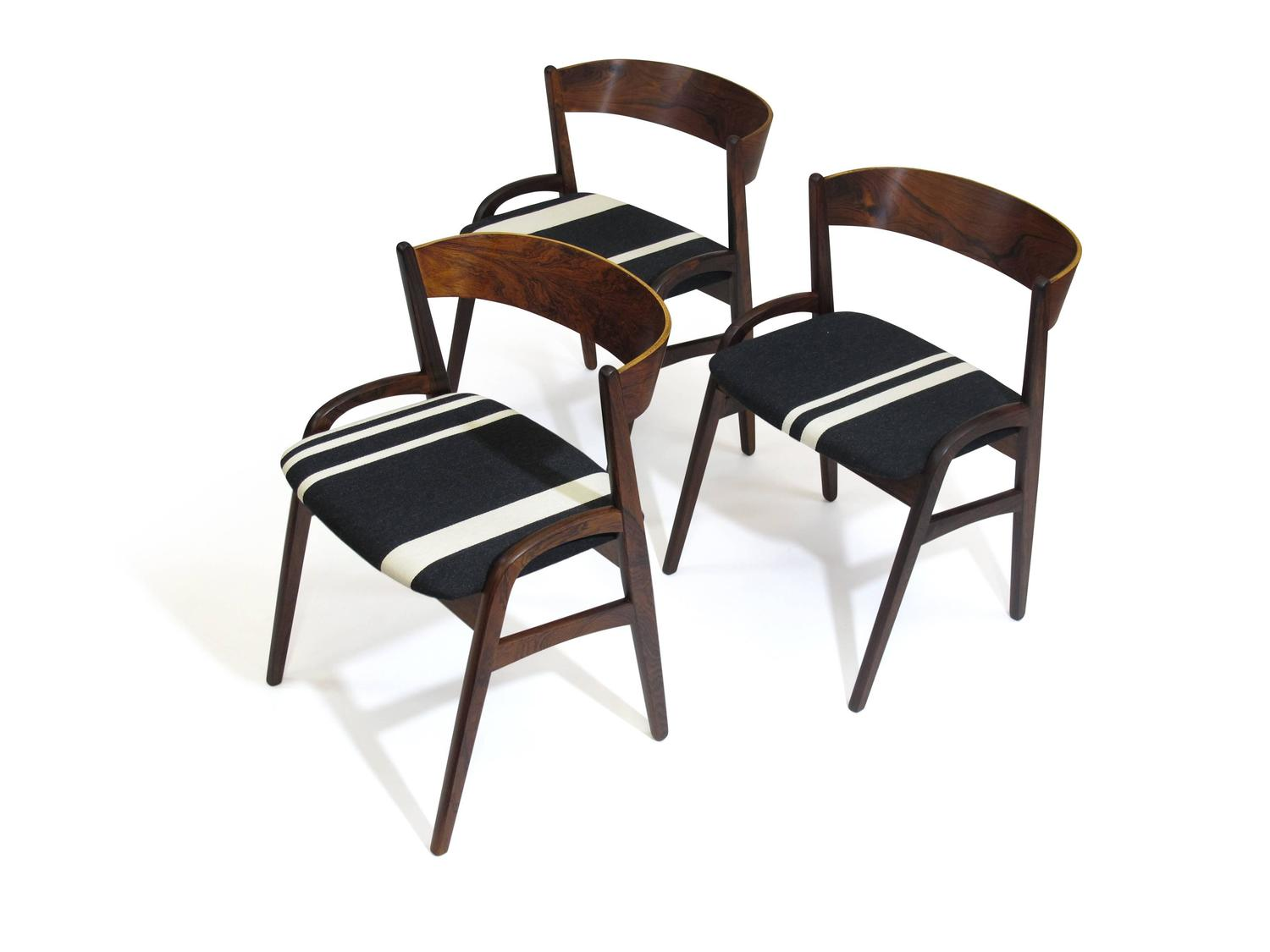 six rosewood dining chairs in black white striped