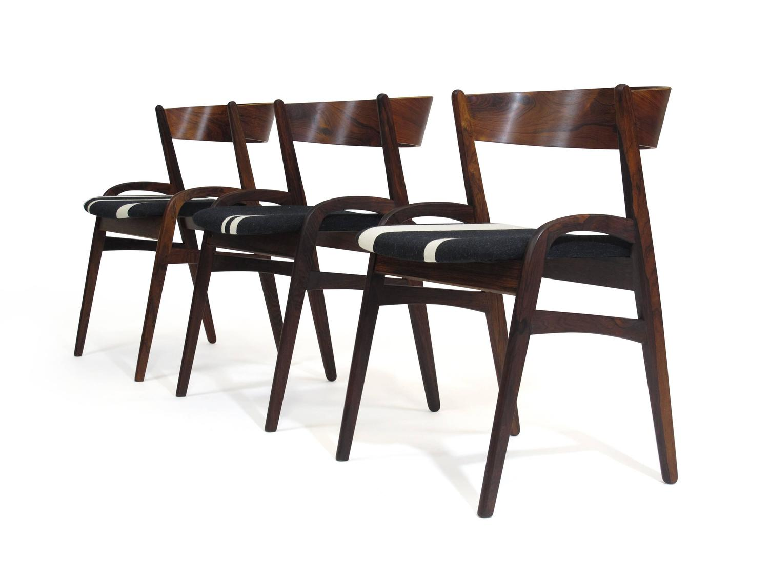 Six Rosewood Danish Dining Chairs in Black White Striped