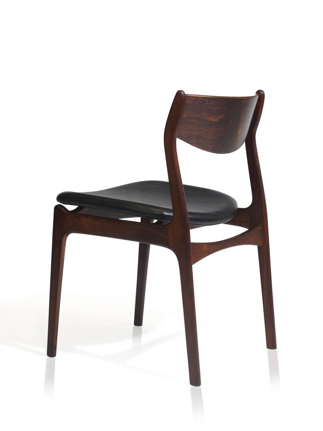 Eight Jorgensen Danish Rosewood Dining Chairs In Black