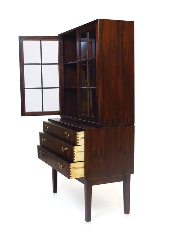 Mid-20th Century Ole Wanscher Danish Rosewood Curio Cabinet For Sale