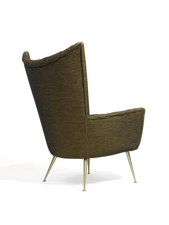 Mid-20th Century Italian Lounge Chairs in Original Green Horsehair Fabric on Brass Legs For Sale