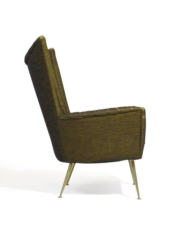 Italian Lounge Chairs in Original Green Horsehair Fabric on Brass Legs In Good Condition For Sale In Berkeley, CA