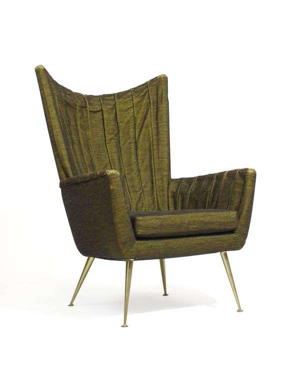Mid-Century Modern Italian Lounge Chairs in Original Green Horsehair Fabric on Brass Legs For Sale