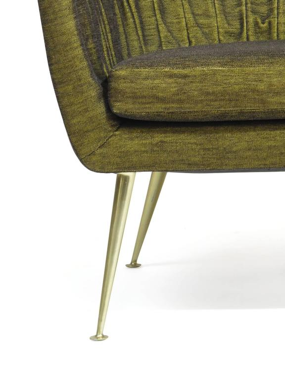 Italian Lounge Chairs in Original Green Horsehair Fabric on Brass Legs For Sale 1