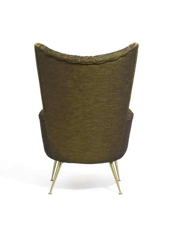 Italian Lounge Chairs in Original Green Horsehair Fabric on Brass Legs For Sale 2