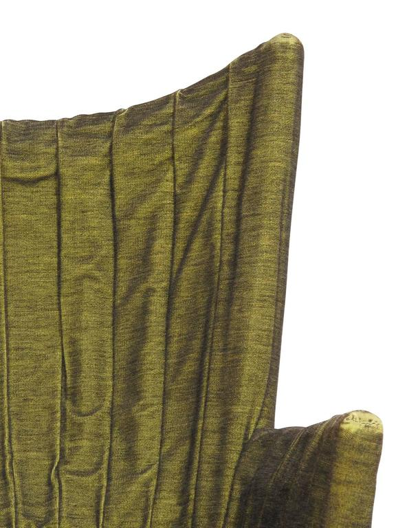 Italian Lounge Chairs in Original Green Horsehair Fabric on Brass Legs For Sale 5