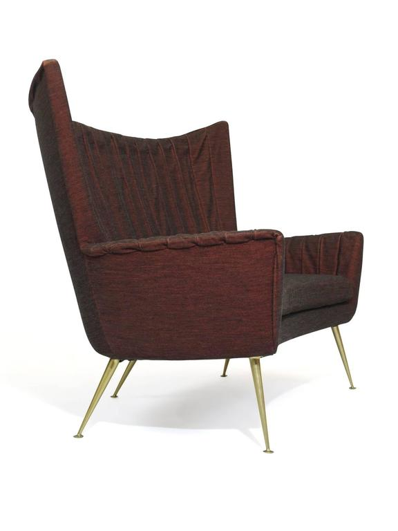 Italian Midcentury Settee in Burgundy Red Horsehair Fabric on Brass Legs 2