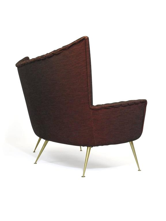 Italian Midcentury Settee in Burgundy Red Horsehair Fabric on Brass Legs 3