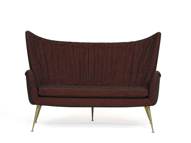 Italian Midcentury Settee in Burgundy Red Horsehair Fabric on Brass Legs 5