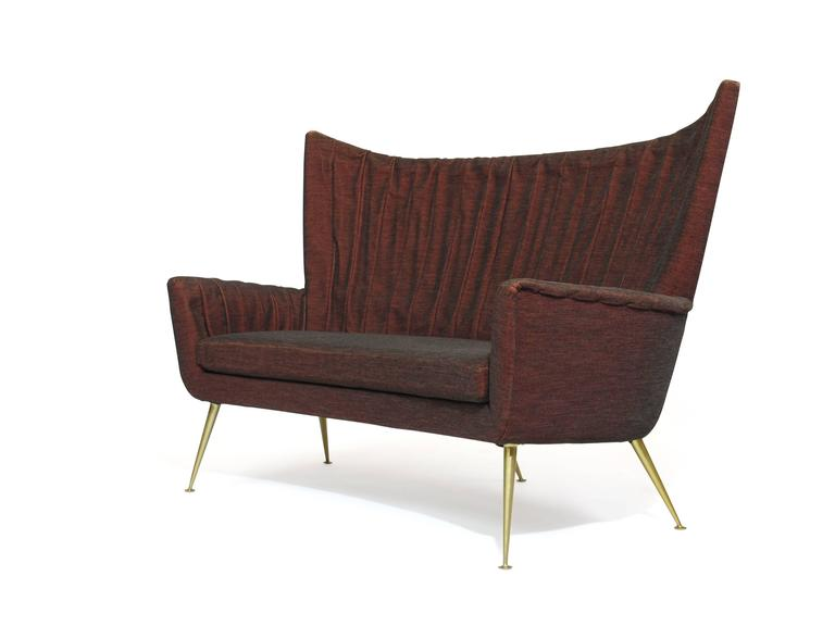 Italian Midcentury Settee in Burgundy Red Horsehair Fabric on Brass Legs 6