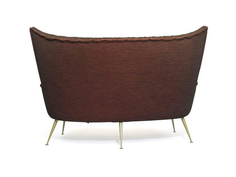 Italian Midcentury Settee in Burgundy Red Horsehair Fabric on Brass Legs 9