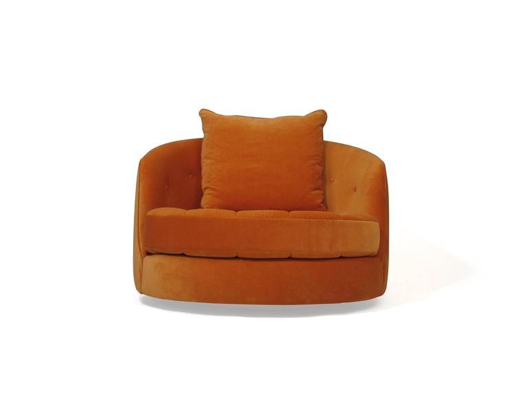 Mid Century Modern Milo Baughman For Thayer Coggin Swivel Tub Chair In  Orange Velvet For
