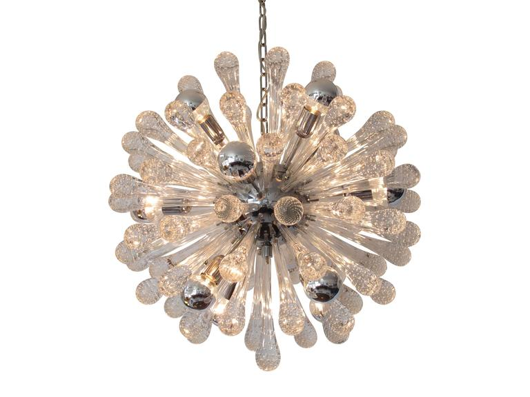 Murano Sputnik chandelier with 76 tear-drop bubble encased glass rods, twelve lights, on a chrome centre. Matching nine-light chandelier also available upon request.