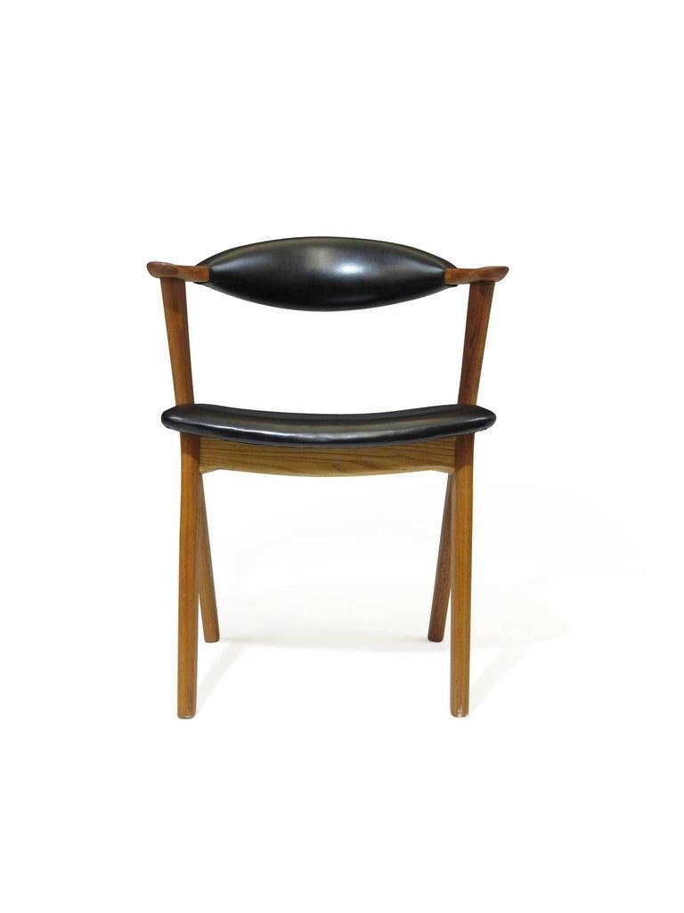 Erik Kierkegaard Danish Teak Dining Chairs In Black Leather At 1stdibs