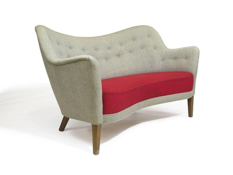 Danish loveseat sofa in manner Finn Juhl BO-55 by Carl Brorup.  Original wool fabric in good condition.