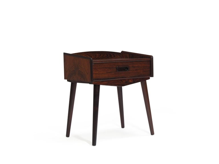 Scandinavian Modern Danish Rosewood Nightstand Side Tables with Drawers For Sale
