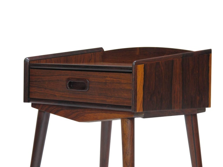 20th Century Danish Rosewood Nightstand Side Tables with Drawers For Sale