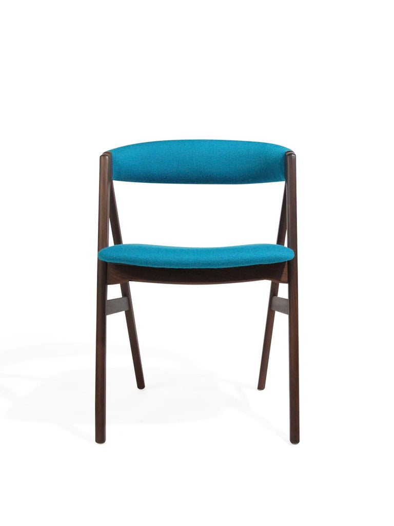 Scandinavian Modern A-Frame Danish Dining Chairs in Turquoise Wool For Sale