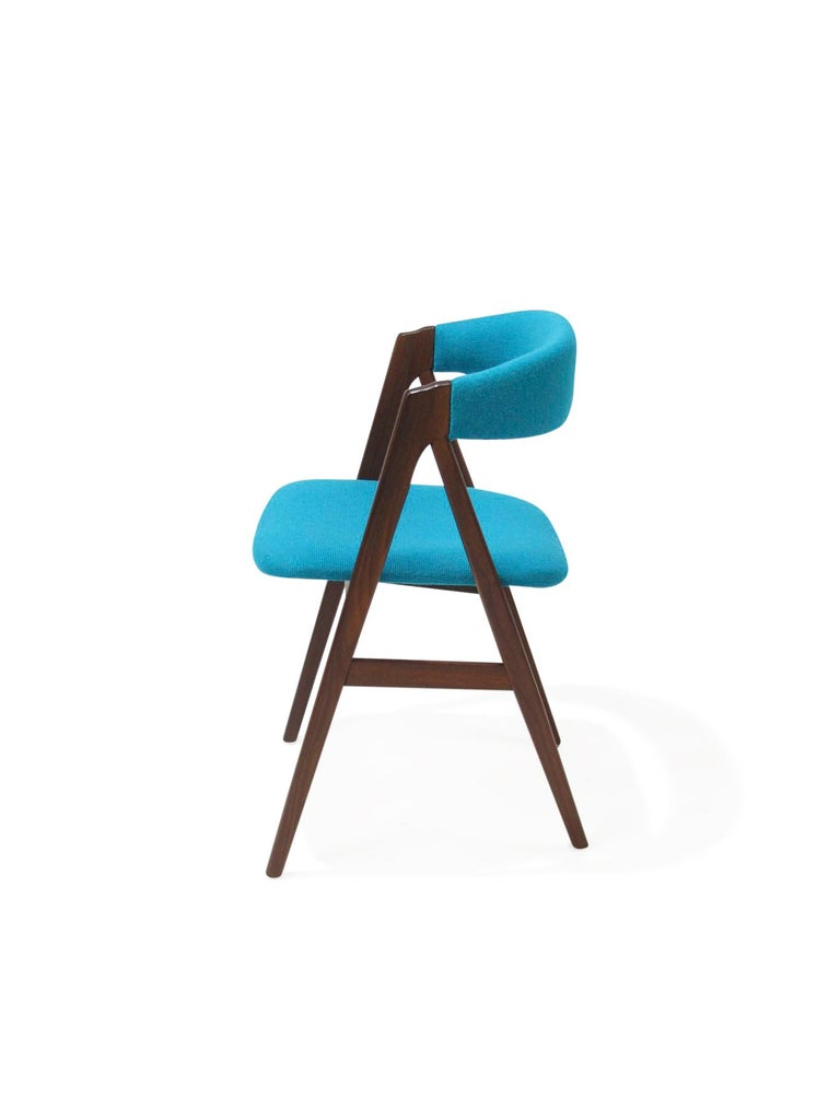 20th Century A-Frame Danish Dining Chairs in Turquoise Wool For Sale